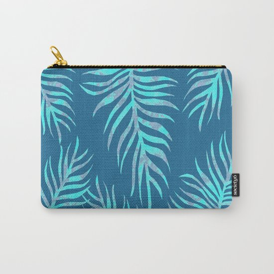 Fern Pattern On Blue Background Carry-All Pouch