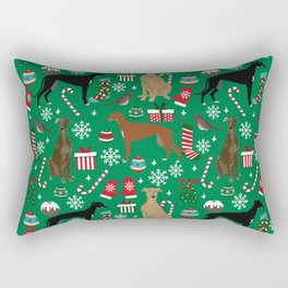 Christmas Greyhound pattern gifts for greyhound rescue dogs must have festive holiday dogs Rectangular Pillow