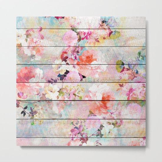 Summer pastel pink purple floral watercolor rustic striped wood pattern Metal Print