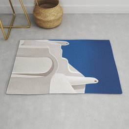 Arches from a Dream - Santorini, Greece - Minimal, Ethereal, Romantic Painting Rug