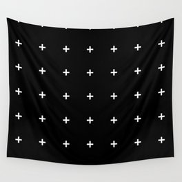 PLUS ((white on black)) Wall Tapestry