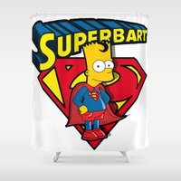 simpson Shower Curtains featuring Superbart: the Simpsons superheroes (Bart Simpson meets Superman) by logoloco