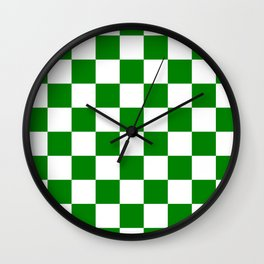 Checkered - White and Green Wall Clock