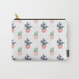 Cactus Print Coral Carry-All Pouch
