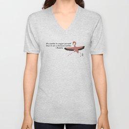 Flamingo Zenimal with Buddha Quote Unisex V-Neck