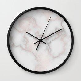 Elegant blush tones pink rose gold white marble Wall Clock