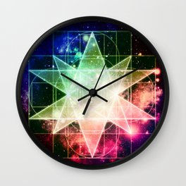Rainbow Galaxy Sacred Geometry : Stellated Icoshadron Wall Clock