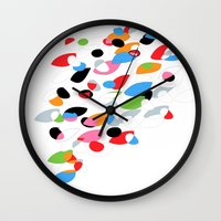swimming Wall Clocks featuring Swimming by Nicki Traikos
