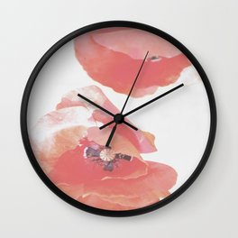 Pastel Poppies Wall Clock