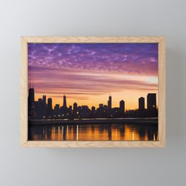 Chicago Sunset Framed Mini Art Print