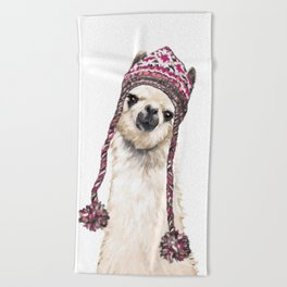 The Llama with Hat Beach Towel