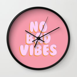 'No Bad Vibes' Bubble gum Letters Wall Clock