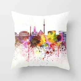Stuttgart skyline in watercolor background Throw Pillow