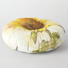 Summer Sunflower #floral #watercolor Floor Pillow