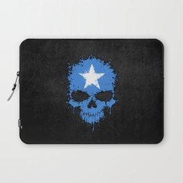 Flag of Somalia on a Chaotic Splatter Skull Laptop Sleeve