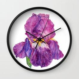 Watercolor purple Iris flower Wall Clock