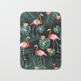 Tropical Flamingo Floral Night Pattern #1 #tropical #decor #art #society6 Bath Mat