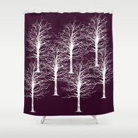forrest Shower Curtains featuring Ghost Forrest by Helle Gade