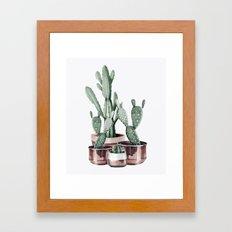 Potted Cacti Rose Gold Framed Art Print