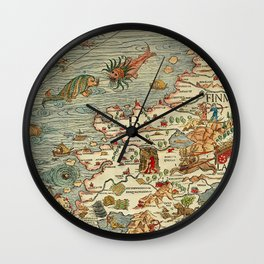 Medieval Map Scandinavia 1539 Wall Clock