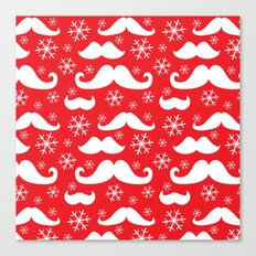 Mustaches and Snowflakes Canvas Print