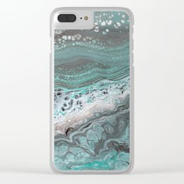 Teal Flow Abstract Acrylic Painting Clear iPhone Case