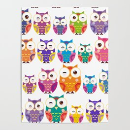 pattern - bright colorful owls on white background Poster