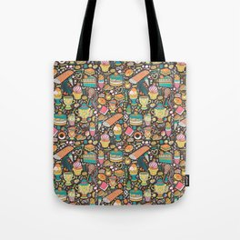 Tea party pattern on chocolate Tote Bag