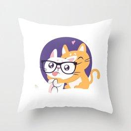 Nerdy Cat Friends Hugging Throw Pillow