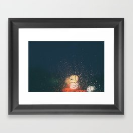 lights, rain, silence. Framed Art Print