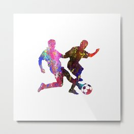 Mens Football Standing Tackling Quote Art Design I Metal Print