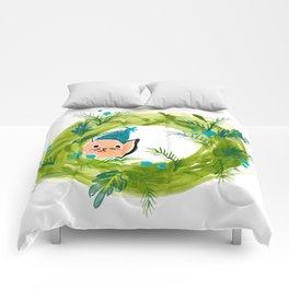 Kitty Christmas Wreath - Holiday Watercolor Comforters