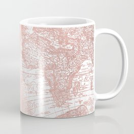 Rose Gold Pink Antique World Map by Nature Magick Coffee Mug
