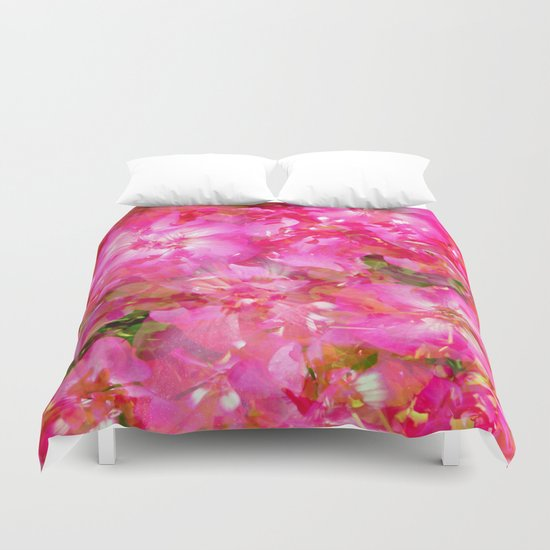 Bright And Cheery Geranium Abstract Duvet Cover