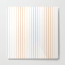 Soft Peach Pinstripe on White Metal Print