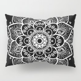 White Mandala On Black Pillow Sham