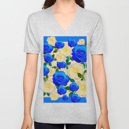 DECORATIVE WHITE & BLUE ROSES GARDEN ART DESIGN Unisex V-Neck