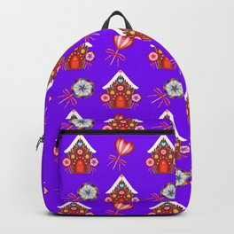 Gingerbread houses, colorful hearts candy lollipops. Retro vintage Backpack