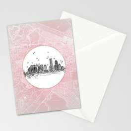 Boston, Massachusetts City Skyline Illustration Drawing Stationery Cards