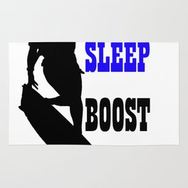 Eat Sleep Boost Repeat Kitebeach Blue and Black Rug