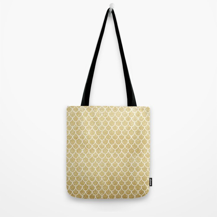 Mermaid Tail Pattern  |  Gold Glitter Tote Bag