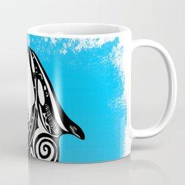 Two Orca Whales Tribal Blue Art Coffee Mug