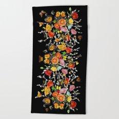 Black Butterfly Bouquet  Beach Towel