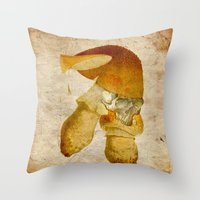 mortal instruments Throw Pillows featuring Mortal mushroom by Joe Ganech