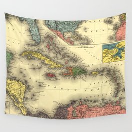 Vintage Map of The Caribbean (1898) Wall Tapestry