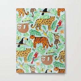 Wild And Wonderful Jungle Friends - Mint Green Background Metal Print