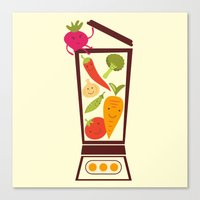 vegetable Canvas Prints featuring Vegetable smoothie by olillia