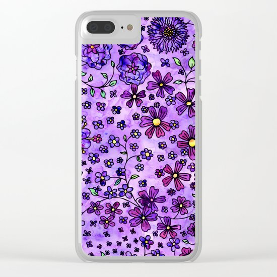 Purple Small Flowers Clear iPhone Case