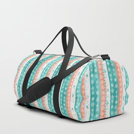 Baltic Bohemian Pattern - Teal Coral Duffle Bag