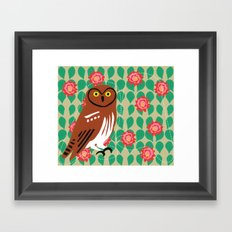 Elf Owl and Cactus Blooms Framed Art Print